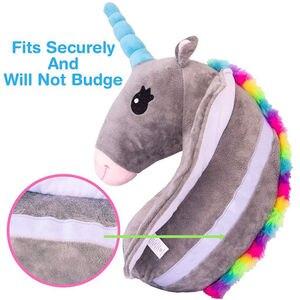 Image 4 - תינוק ילד נסיעות Unicorn כרית ילדי ראש צוואר תמיכת להגן על רכב חגורת בטיחות כרית כתף בטיחות רצועת חמוד בעלי החיים כרית
