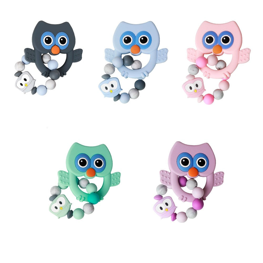 1PC Food Grade Silicone Owl Teether Chewing Custom Bracelet Baby Care Products  Teething Ring Baby Teether