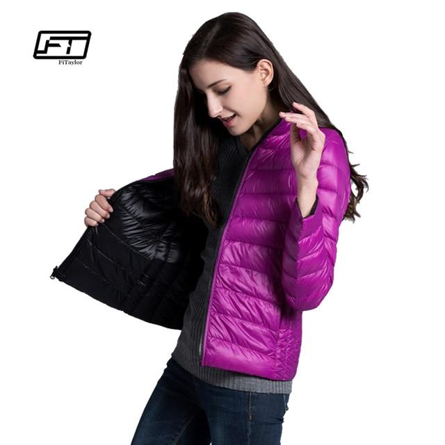 Fitaylor New Winter Women Down Jacket Ultra Light 90% White Duck Down Double Side Coats Short Design Slim Warm Parkas 5