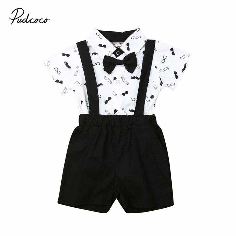 2019 Baby Summer Clothing Baby Boy Gentleman Outfit Wedding Christening Formal Party Bow Tie Bodysuit Overall Suit Tuxedo 0-24m