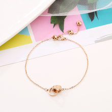 New stainless steel double circles ankle bracelet for women, fashion roman numerals rose gold bracelets cheville foot jewelry(China)