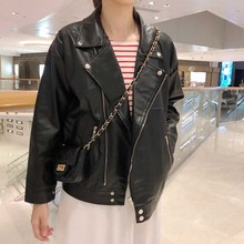 Loose Plus Size Oversized Button Turndown Collar Zipper Pocket Streetwear Punk Leather Jacket Harajuku Korean Coat Cargo Outwear turndown collar pocket corduroy shirt