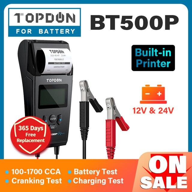 TOPDON – testeur de batterie de voiture BT500P 12V 24V, avec imprimante, charge de batterie, analyseur de batterie, démarrage automatique, moto