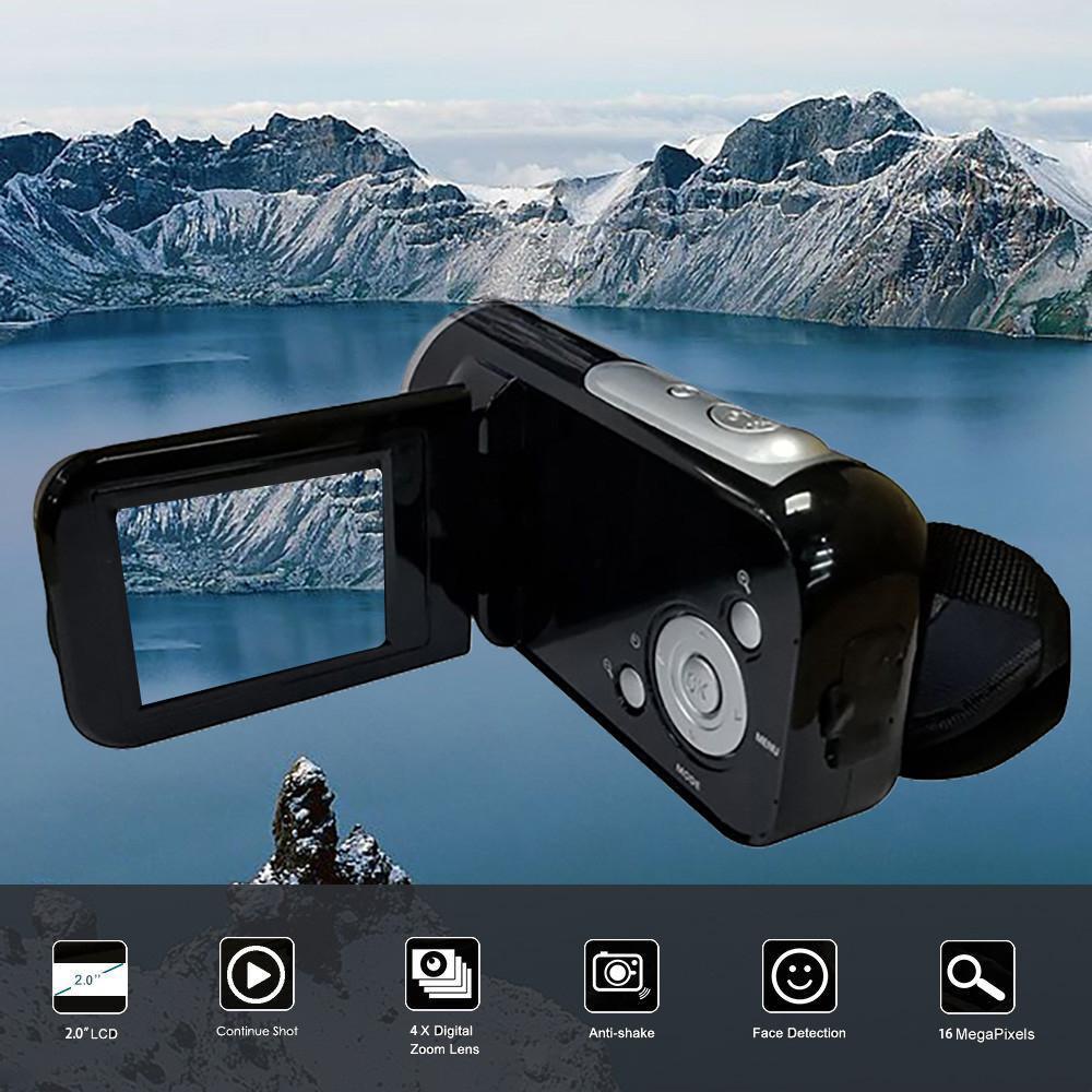 Videocámara HD 1080P cámara Digital de mano 4X Zoom Digital SD/MMC coche 2 pulgadas TFT Pantalla 16 millones de píxeles explotando Ultra cámara fotográfica 16MP Ultra-clear HD cámara Digital DVR 1080P Mini HD cámara de vídeo preciso cámara grabadora DVR negro