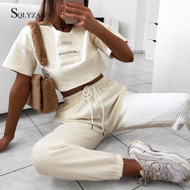 2019 Autumn Women Leisure 2 Pieces Sets Spliced Sweat Shirt Full Length Harem Pants Oversize Elastic Waist Tracksuits Outfiits