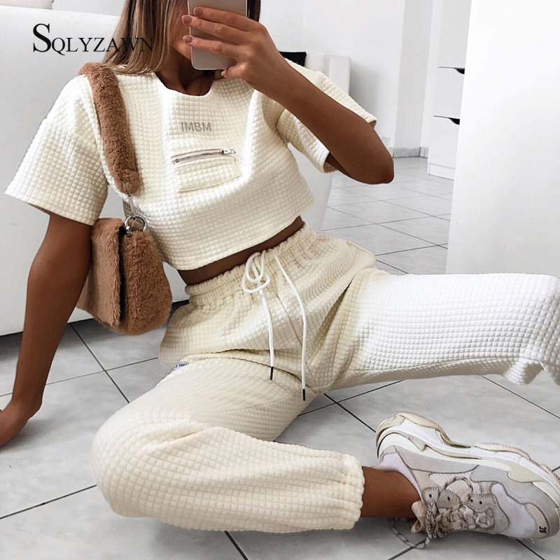 2019 Autumn Women Leisure 2 Pieces Sets Spliced Sweat Shirt Full Length Harem Pants Oversize Elastic Waist Tracksuits Outfiits