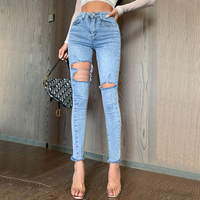 Slim Jeans Women Fashion High Waist Washed Pencil Pants Tight Fitting Holes Are Thin Elastic Shorts