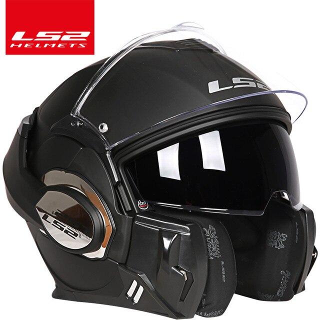LS2 Casco abatible hacia arriba para motocicleta FF399, visera dual, auténticos cascos integrales, LS2