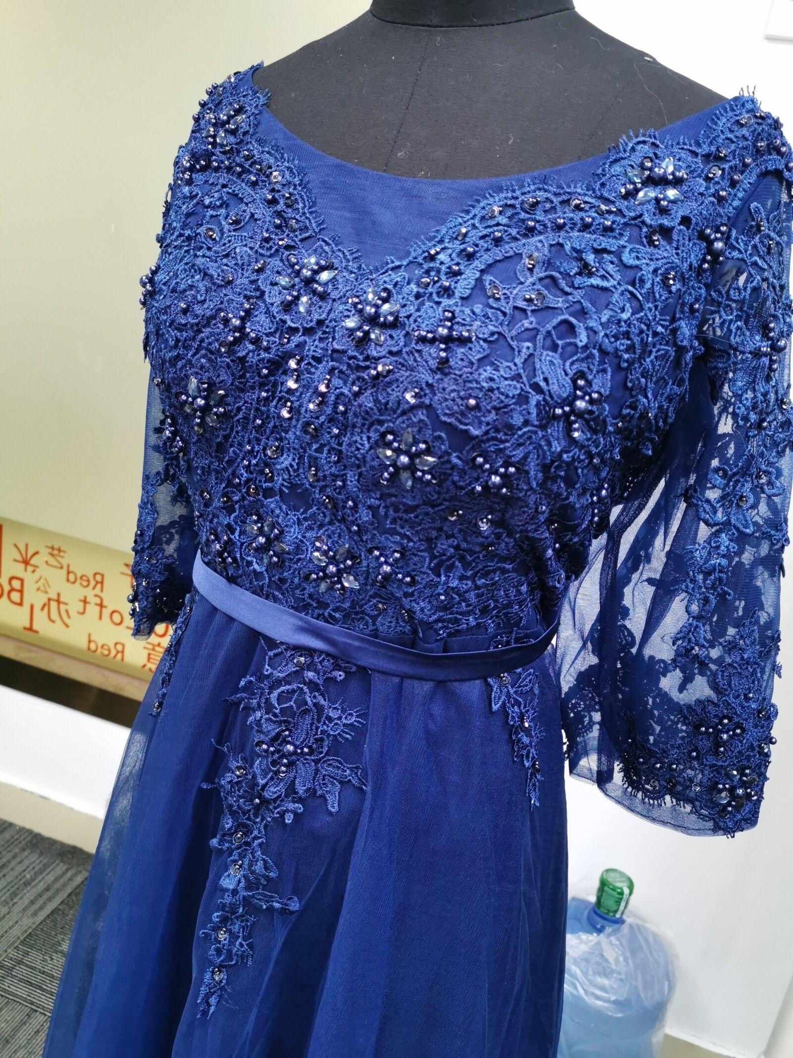 Это Yiiya Новое элегантное вечернее платье в пол с открытой спиной на шнуровке с цветами вечерние платья LX048 - Цвет: Тёмно-синий