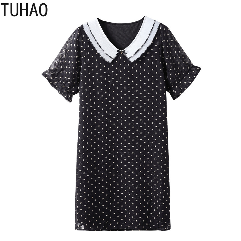 TUHAO Summer <font><b>Women</b></font> <font><b>Plus</b></font> <font><b>Size</b></font> <font><b>7XL</b></font> 6XL 5XL 4XL Loose Polka Dot Dress Female Doll Collar Office Lady Elegant Dresses Clothes WM30 image
