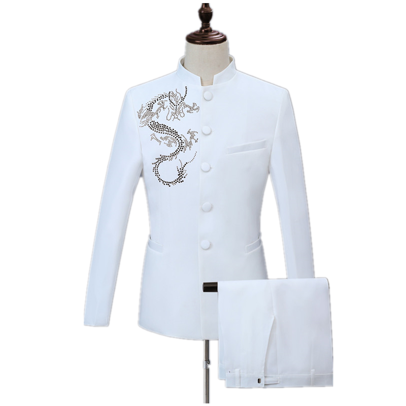 Trendy Men's Diamond-studded Gold Dragon-shaped Embellished Suit Can Be Used In Party Wedding 2 Piece Set White Casual Suit Set