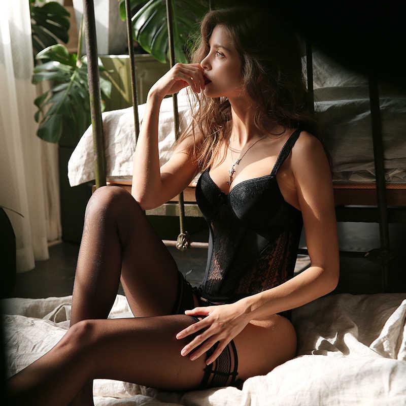 CINOON yeni elastikiyet korse seksi iç çamaşırı Lace up vücut büstiyer Overbust sapanlar kemer siyah nefes iç çamaşırı