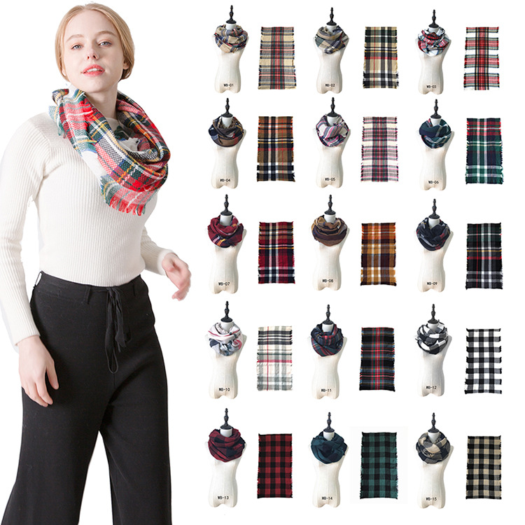 2019 AliExpress Burst Sell Colorful Plaid Scarf Autumn And Winter Faux Cashmere Colorful Plaid Scarf