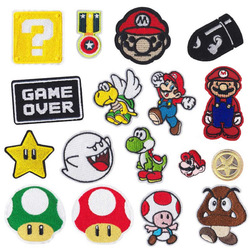 Lucu Kartun Bordir Besi Pada Parchs Patch Permainan Karakter Hantu Mario Kain Lencana Anak-anak Jaket Pakaian Aksesoris DIY