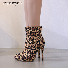 women bootie 12CM High Heels Sexy Leopard shoes Pointed Toe boots autumn winter Botas Mujer Plus size women ankle shoes YMA892