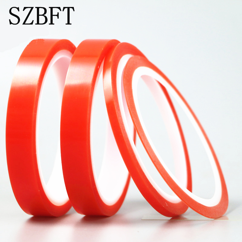 Купить с кэшбэком SZBFT 2rolls 1mm~5mm*5M Strong pet Adhesive PET Red Film Clear Double Sided Tape No Trace for Phone LCD Screen free shipping