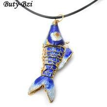 Различные цвета Милая перегородчатая подвеска Карп Рыба черная кожа цепи ожерелье модные вечерние ювелирные изделия