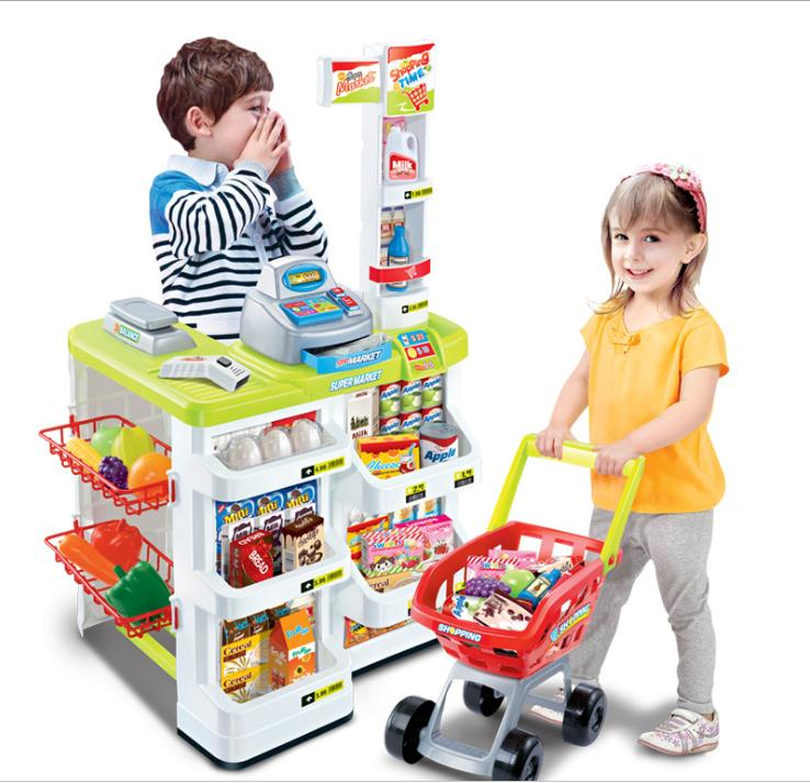 Christmas Presents For Children Pretend Play Toy Shop Trolley Cart Supermarket Checkstand With A Shopping Cart Kitchen Toys