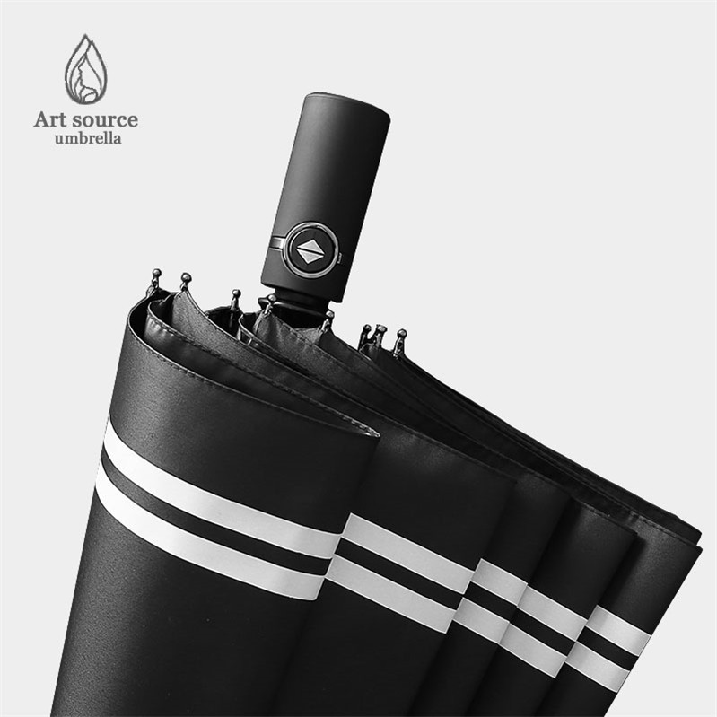 Ten Bone Stripes Automatic Umbrella Men's Foldable Rain Or Shine Dual Purpose Umbrella Large Size Three Fold Fully Automatic Rei
