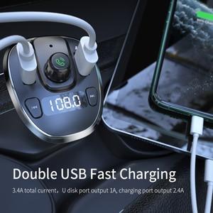 Image 4 - Essager USB شاحن سيارة سماعة لاسلكية تعمل بالبلوتوث 5.0 سيارة عدة يدوي FM الارسال MP3 سريع شاحن آيفون شاومي الهاتف المحمول