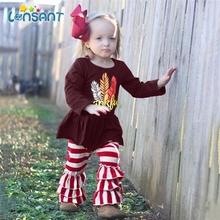LONSANT Toddler Baby Kid zestaw ubranek dla dziewczynki święto dziękczynienia z długim rękawem topy T-shirt + spodnie w paski strój jesień zestaw wiosenny tanie tanio Na co dzień O-neck Swetry baby outfits COTTON Dziewczyny Pełna REGULAR Pasuje prawda na wymiar weź swój normalny rozmiar