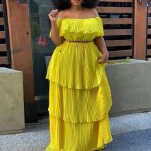 Жёлтое длинное платье в складку сексуальное слэш шеи с открытыми