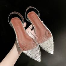 Kryształowe przezroczyste obcasy damskie ściągacze do butów jasne buty sandały damskie letnie buty obcasy blokowe Party pasek z tyłu N3-75 tanie tanio BJYL CN (pochodzenie) Niska (1 cm-3 cm) podstawowe Wysokie buty Otwarta Wsuwane Dobrze pasuje do rozmiaru wybierz swój normalny rozmiar