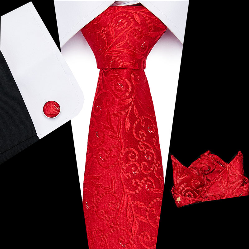 New Luxury Classic  Red  Striped Men Ties Set 8cm Necktie Navy Blue Paisley 100% Silk Jacquard Woven Neck Tie Suit Wedding