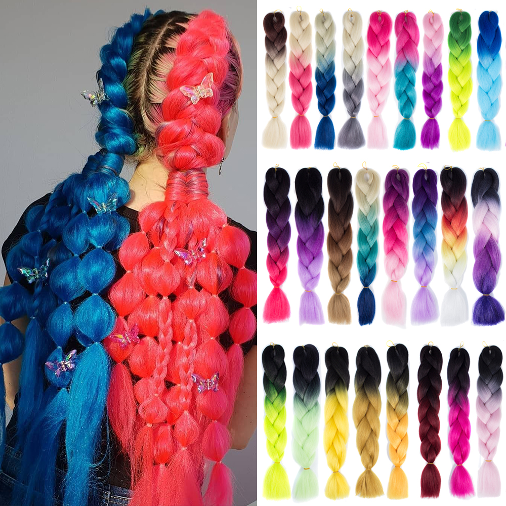 Synthetic Hair Braids Ombre Braiding Hair Extension Box Braids Hair Pink Purple Yellow Golden Colors Crochet Braids