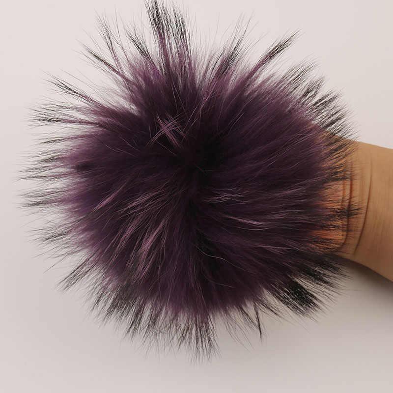 DANKEYISI Pluizige Bont Pompons 15-16cm DIY Wasbeer Vos Bont Pom Poms bont Ballen Natuurlijke Bont Pompon Voor hoeden Tassen Sjaal Skullies