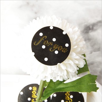 100pcs Black Round Dot for You Cake Packaging Sealing Label Kraft Sticker Baking DIY Gift Stickers - discount item  45% OFF Stationery Sticker
