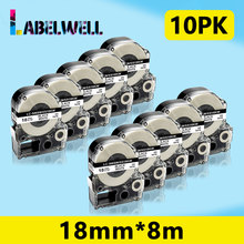 Labelwell 10pcs Black on White label tape SS18KW LC-5WBN compatible for Epson LabelWorks
