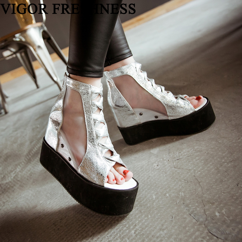 VIGOR FRESHNESS Woman Summer Sandals 11CM Heeels Women Shoes Gladiator Platform Sandals Lady Height Increasing Shoes WY421