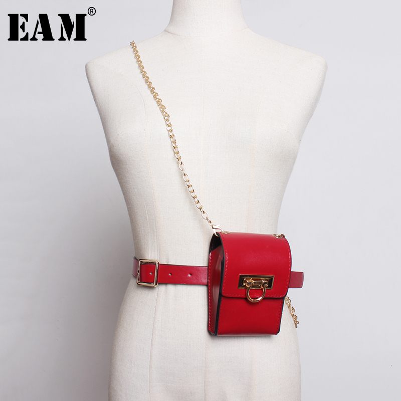 [EAM]  Pu Leather Chain Leather Split Mini-bag Long  Belt Personality Women New Fashion Tide All-match Spring Autumn 2020 1K973