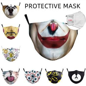 3D Printing Dust Proof Anti Fog Mask Cosplay Cartoon Anime Fashion Wash Joker Superhero Funny Adjustable Domestic