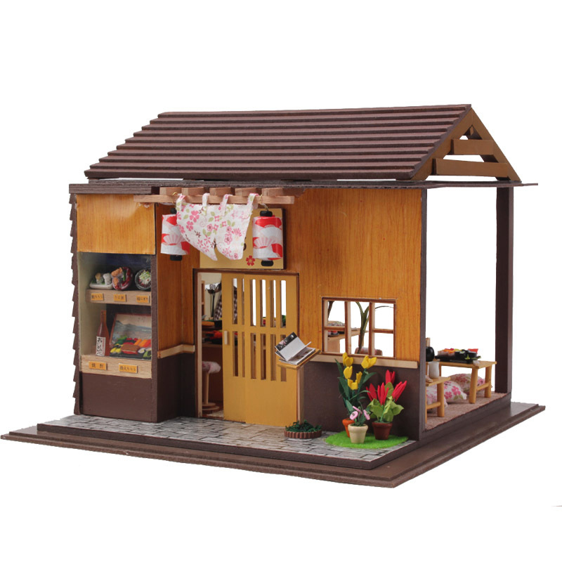 Diy Doll House Sushi Restaurant Handmade Craft Toys 3D Wooden Miniature Dollhouse with Furnitures Assemble Kits Toy Gift