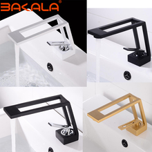 Black Tap Faucet Sink-Tap Mixer Bathroom-Basin Hot-Water Deck-Mounted Single-Handle Hollow-Design