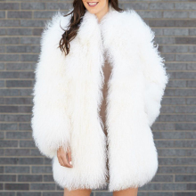 rf1927 Winter Luxury Real Mongolian Sheep Fur Coat Women Full Pelt Natural Long Sleeve Fashion Jacket