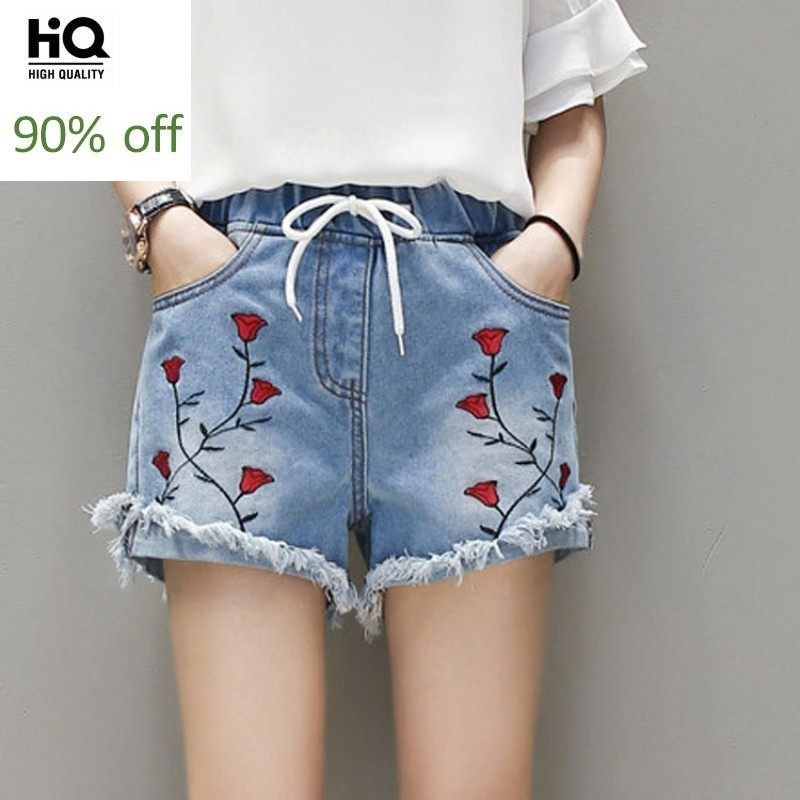 Womens Streetwear Embroidery Floral Denim Trouser Summer Straight Frayed Casual Elastic Waist Sweet Shorts Plus Size Woman Jeans