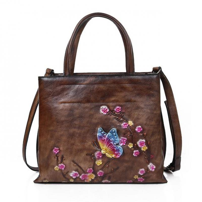 Image 5 - Johnature Retro Large Capacity Luxury Handbags Women Bags 2020  New Genuine Leather Floral Casual Tote Shoulder