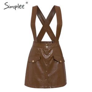 Image 3 - Simplee Women faux leather dress Streetwear PU soft animal print overalls autumn dress Overalls high waist lady strap mini dress