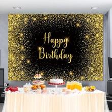 Laeacco วันเกิดโปสเตอร์แบนเนอร์ Glitter Golden Polka Dots วันเกิดงานแต่งงานเด็กถ่ายภาพพื้นหลัง