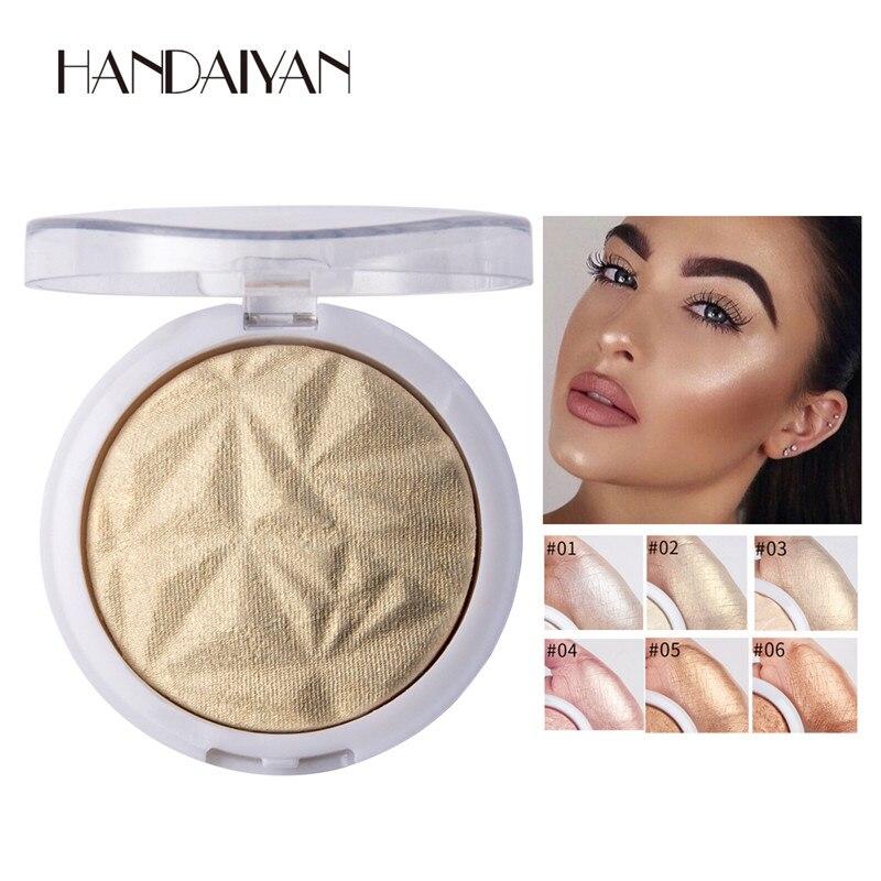 Shimmer Powder Highlighter Palette Glow Kit 6 Colors Base Illuminator Highlight Beauty Face Makeup Contour Golden Bronzer
