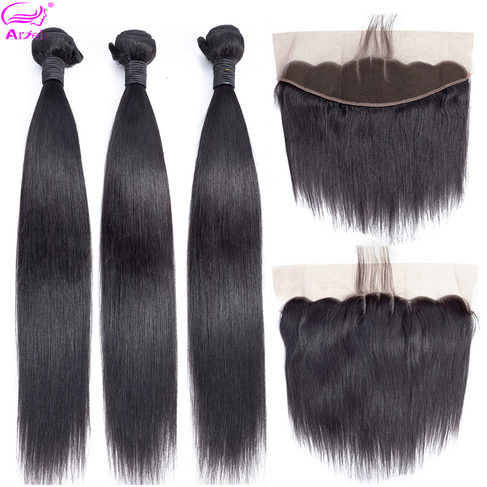 Ariel Brazilian Hair Weave Bundles Straight Hair Bundles With Frontal Closure 13 *4 Non Remy Human Hair 3 Bundles With Frontal