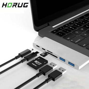 HORUG 7 in 1 USB C HUB Type To Hdmi Splitter Thunderbolt 3 USB-C 3.1 For Macbook Huawei Xiaomi OTG Adapter