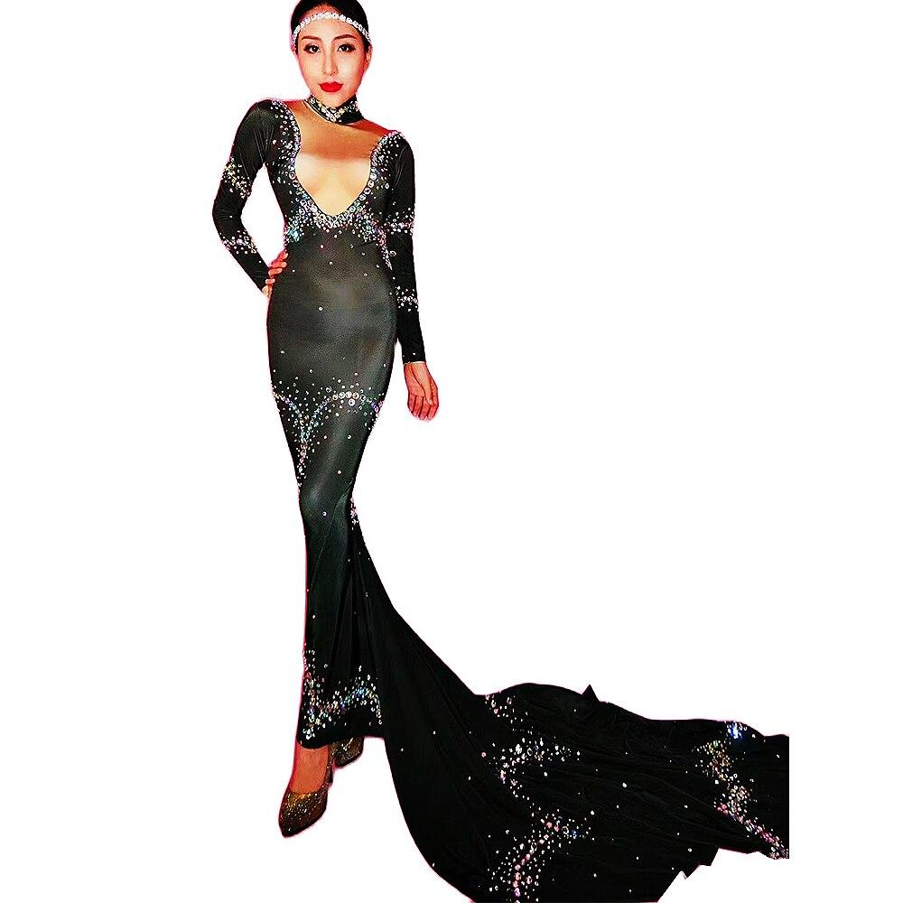 Black Long Trailing Dresses Rhinestones Backless Ankle-Length Dress Shiny Costume For Women Ladies Nightclub Performance Wear
