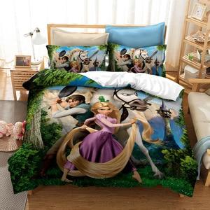 Disney emaranhado rapunzel flynn ryder jogo de cama princesa roupas folha fronha dos desenhos animados da menina gêmeo capa edredão conjuntos