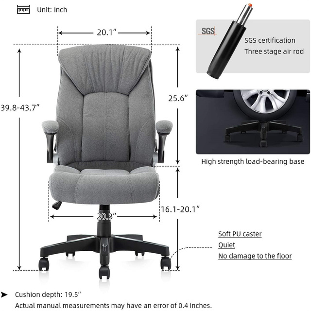 Office Chair Commercial Ergonomic High-Back Bonded Leather Executive Chair with Flip-Up Arms and Lumbar Support pc gaming chair 4