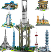 City Architecture Mini Blocks Model Building Burj Khalifa London Eiffel Tower Big Ben Notre Dame Micro Bricks Expert Set Pyramid