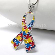 Fashion 12 Pieces 4CM Mix Color Enamel Alloy Autism Awareness Ribbon Pendant Necklace Free Shipping xy123